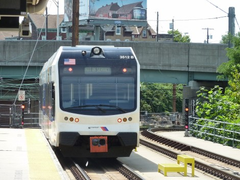The photo that I was almost arrested for! A River Line light rail vehicle terminates at Trenton, NJ